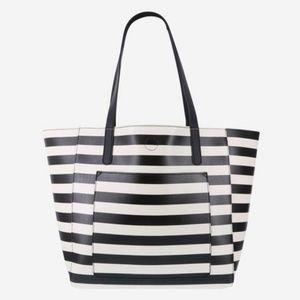 Large Black & White Striped Adrianna Tote
